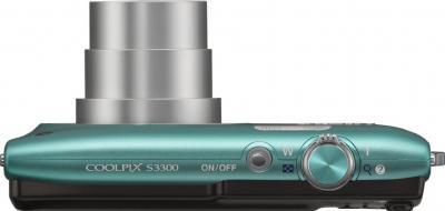 Компактный фотоаппарат Nikon Coolpix S3300 Green - вид сверху