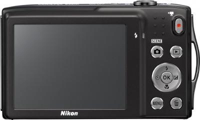 Компактный фотоаппарат Nikon Coolpix S3300 Black - вид сзади