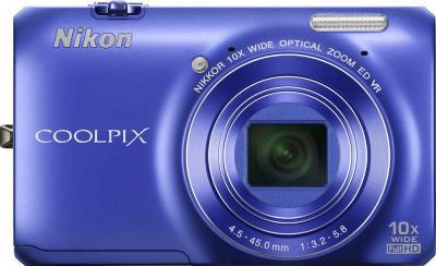 Компактный фотоаппарат Nikon Coolpix S6300 Blue (Blue) - вид спереди