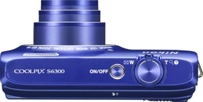 Компактный фотоаппарат Nikon Coolpix S6300 Blue (Blue) - вид сверху