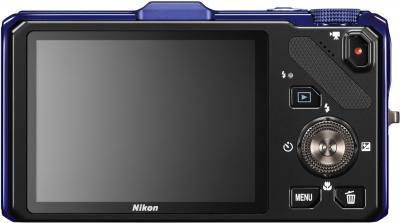 Компактный фотоаппарат Nikon Coolpix S9300 Blue - вид сзади