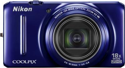 Компактный фотоаппарат Nikon Coolpix S9300 Blue - вид спереди