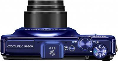 Компактный фотоаппарат Nikon Coolpix S9300 Blue - вид сверху