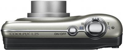 Компактный фотоаппарат Nikon Coolpix L25 Silver - вид сверху