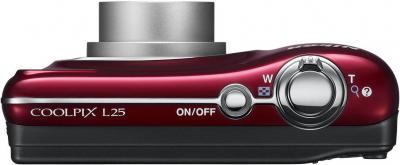 Компактный фотоаппарат Nikon Coolpix L25 Red - вид сверху