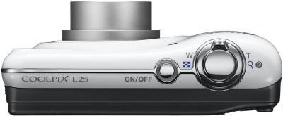 Компактный фотоаппарат Nikon Coolpix L25 White - вид сверху