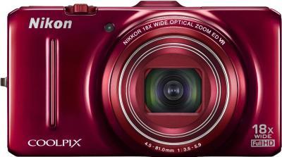Компактный фотоаппарат Nikon Coolpix S9300 Red - вид спереди
