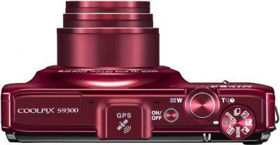 Компактный фотоаппарат Nikon Coolpix S9300 Red - вид сверху