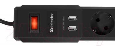 Сетевой фильтр Defender DFS-453 / 99043 (3м, 5 розеток, черный)