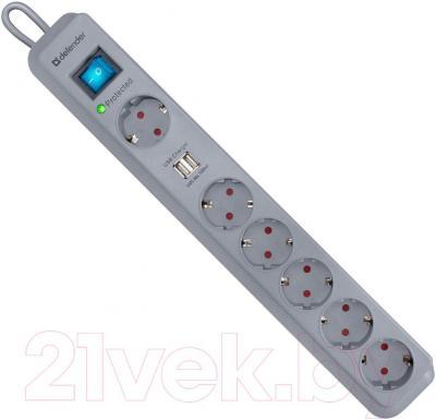 Сетевой фильтр Defender DFS-501 / 99051 (2м, 6 розеток, серый)