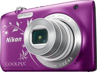 Компактный фотоаппарат Nikon Coolpix S2900 (фиолетовый с рисунком)