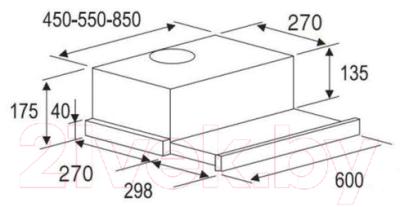 Вытяжка телескопическая Zorg Technology Slimlux 60 (нержавеющая сталь/черный)