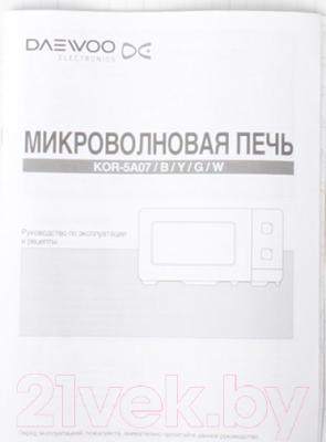 Микроволновая печь Daewoo KOR-5A07B - Инструкция