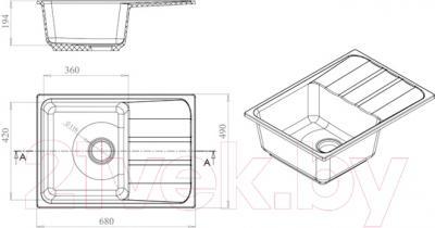 Мойка кухонная Harte H-5068 (бежевый)