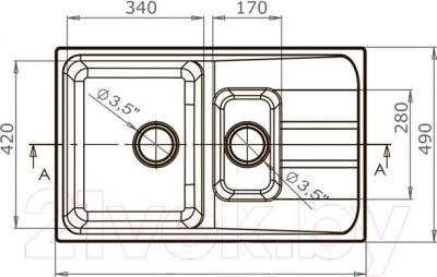 Мойка кухонная Harte H-6078K (терракотовый) - схема