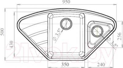 Мойка кухонная Harte H-8095EK (белый) - схема