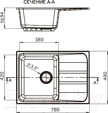 Мойка кухонная Harte H-5078 (белый)