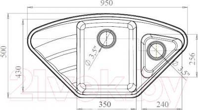 Мойка кухонная Harte H-8095EK (песочный) - схема