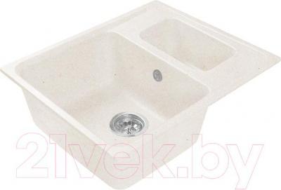 Мойка кухонная Harte H-6059K (белый) - общий вид (образец цвета может отличаться от реального цвета мойки)