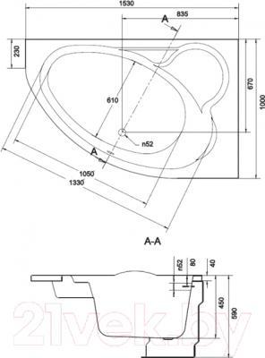 Ванна акриловая Cersanit Kaliope 153x100 R (с ножками)