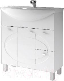 Тумба под умывальник Ванланд Монако 3-80 (белый, с корзиной)