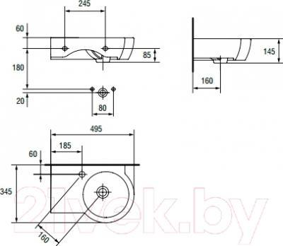 Умывальник настенный Cersanit Nano 50 / K19-006 (левый) - схема
