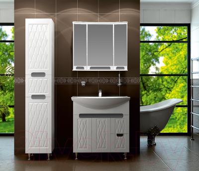 Шкаф с зеркалом для ванной Ванланд Венеция 1-80 (белый)