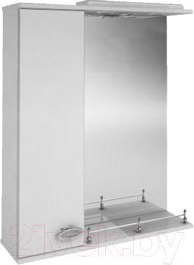 Шкаф с зеркалом для ванной Ванланд Жемчуг 1-60 (белый, левый)