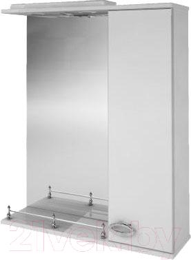 Шкаф с зеркалом для ванной Ванланд Жемчуг 1-60 (белый, правый)
