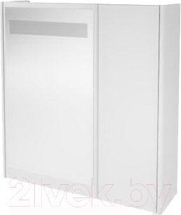 Шкаф с зеркалом для ванной Ванланд Квадро 1-55 (белый)