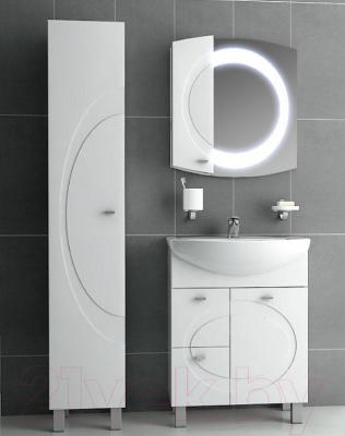 Шкаф с зеркалом для ванной Ванланд Монако 1-70 (белый, левый)