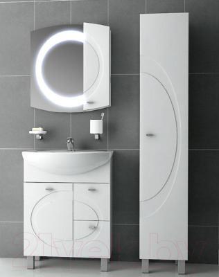 Шкаф с зеркалом для ванной Ванланд Монако 1-70 (белый, правый)