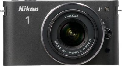 Беззеркальный фотоаппарат Nikon 1 J1 Kit 10-30mm Black - вид спереди
