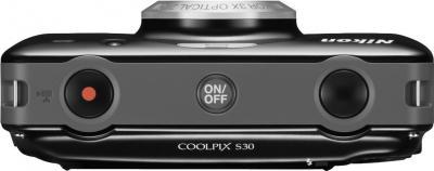 Компактный фотоаппарат Nikon Coolpix S30 (Black) - вид сверху