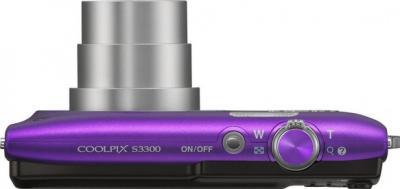 Компактный фотоаппарат Nikon Coolpix S3300 Violet - вид сверху