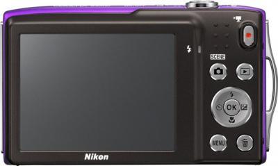 Компактный фотоаппарат Nikon Coolpix S3300 Violet - вид сзади