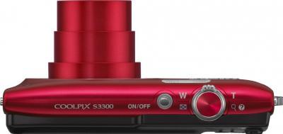 Компактный фотоаппарат Nikon Coolpix S3300 Red - вид сверху