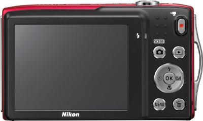Компактный фотоаппарат Nikon Coolpix S3300 Red - вид сзади