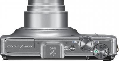 Компактный фотоаппарат Nikon Coolpix S9300 Silver - вид сверху