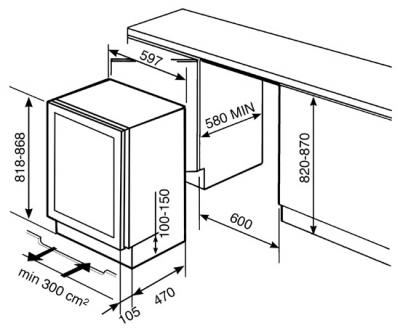 Винный шкаф Smeg CVI38X - Схема встраивания
