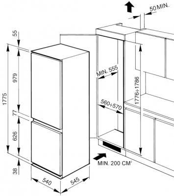 Холодильник с морозильником Smeg CR322ANF - Схема встраивания