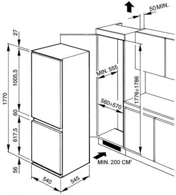 Холодильник с морозильником Smeg CR327AV7 - Схема встраивания