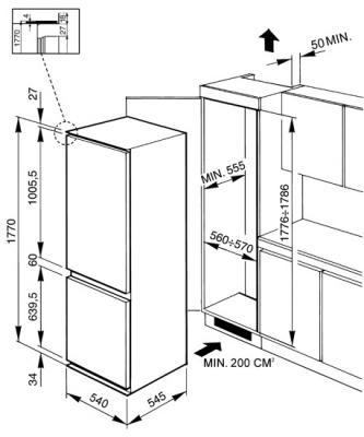 Холодильник с морозильником Smeg CR329APLE - Схема встраивания