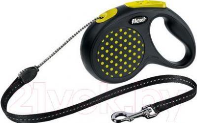 Поводок-рулетка Flexi Design 12187 (M, желтый) - общий вид