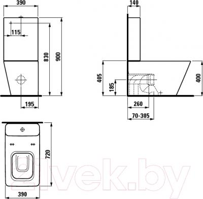 Унитаз напольный Laufen Alessi Dot (8239064000001) - технический чертеж