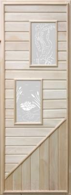 Деревянная дверь для бани Doorwood 750x1850 (вагонка, 2 стекла, липа)