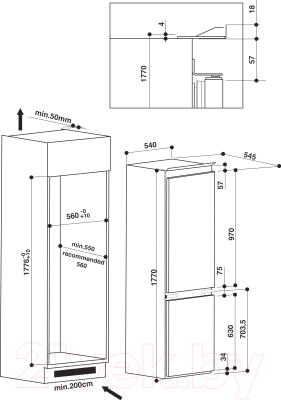 Холодильник с морозильником Whirlpool ART 6600/A+/LH