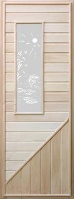 Деревянная дверь для бани Doorwood 750x1850 (вагонка со стеклом прямоуг, липа)