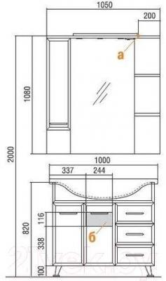 Шкаф с зеркалом для ванной Акватон Эмили 105 (1A008602EM01L)