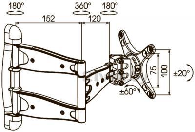 Кронштейн для телевизора Kromax Techno-2 - габаритные размеры